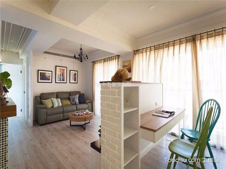 客厅咖啡色地板砖地中海风格装潢图片
