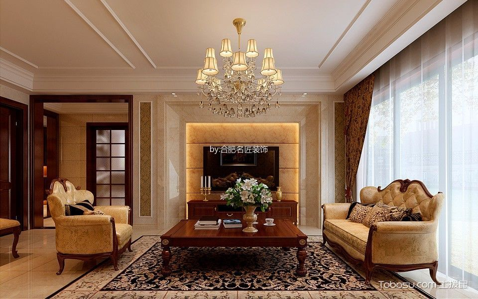 滨湖世纪城150平米欧式风格三居室装修效果图