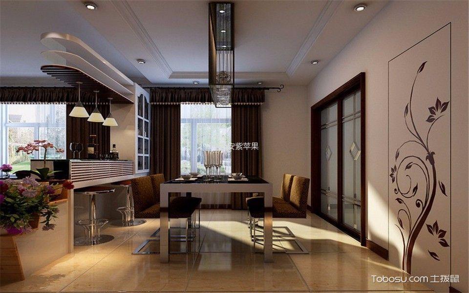 餐厅咖啡色窗帘现代简约风格装潢设计图片