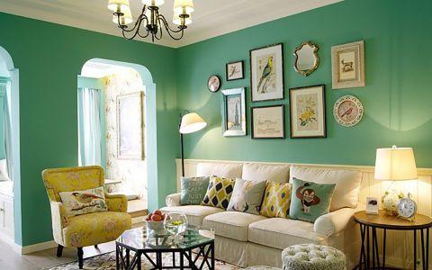 清爽的蓝绿色美式两居