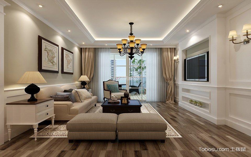 客厅米色窗帘美式风格效果图图片