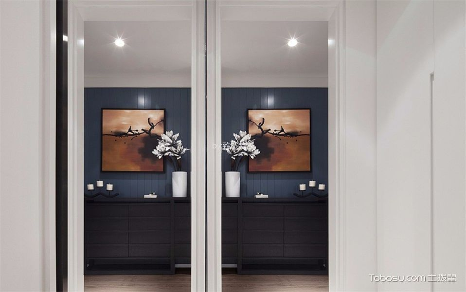 玄关蓝色隐形门现代简约风格装修图片