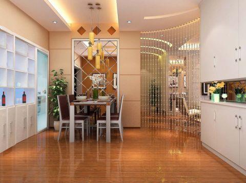 本案为一个三居室的简约装修风格案例,餐厅部分做了地台,利用业主的爱好珠帘与客厅做到了隔断作用。