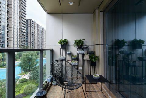 创意黑色生活阳台平面图