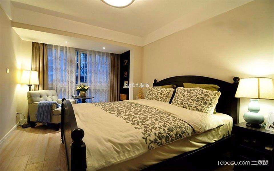 卧室黄色地板砖混搭风格装潢设计图片