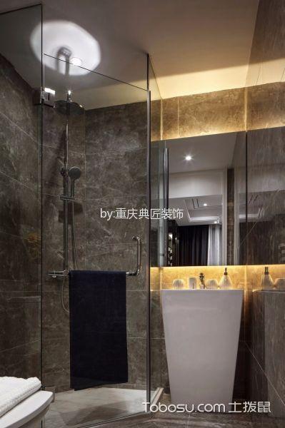 卫生间灰色背景墙简约风格装饰设计图片