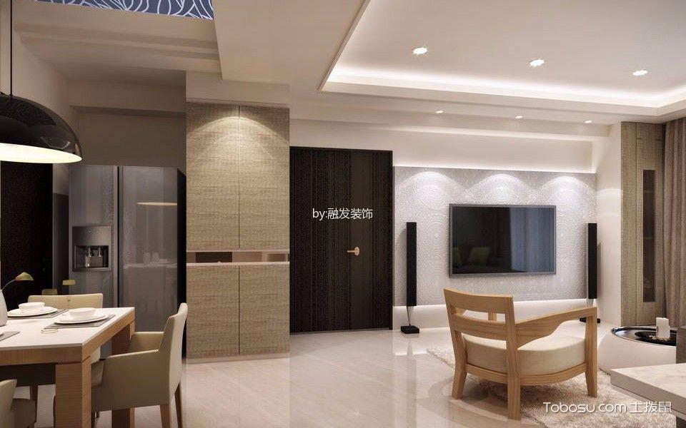 客厅白色吊顶北欧风格装修设计图片