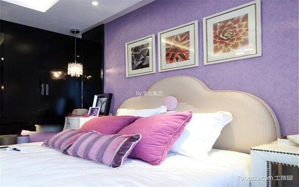 卧室紫色照片墙美式风格装修效果图