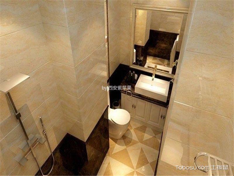 卫生间橙色背景墙简欧风格装潢效果图