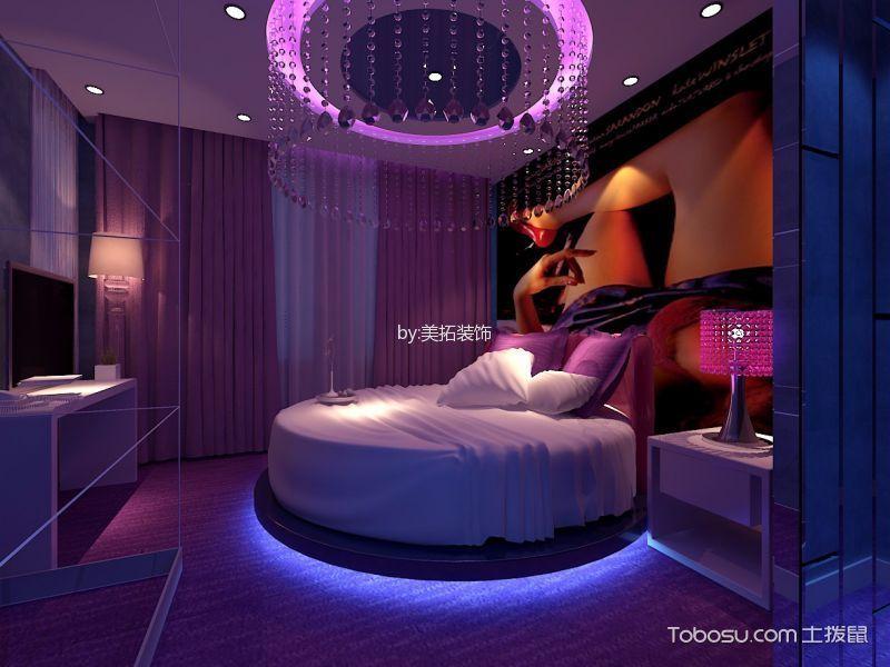 主题酒店紫色卧室效果图
