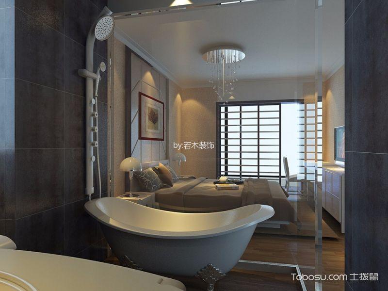 卫生间咖啡色窗台现代风格装潢效果图
