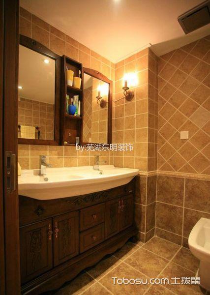 卫生间咖啡色吧台美式风格装饰图片