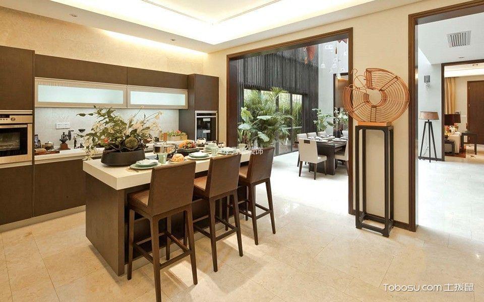 厨房米色吧台新中式风格装潢图片