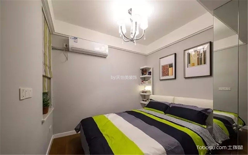 卧室灰色照片墙现代简约风格装潢效果图