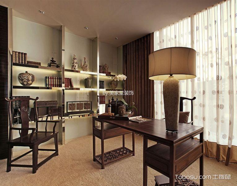 书房米色窗帘东南亚风格装修图片