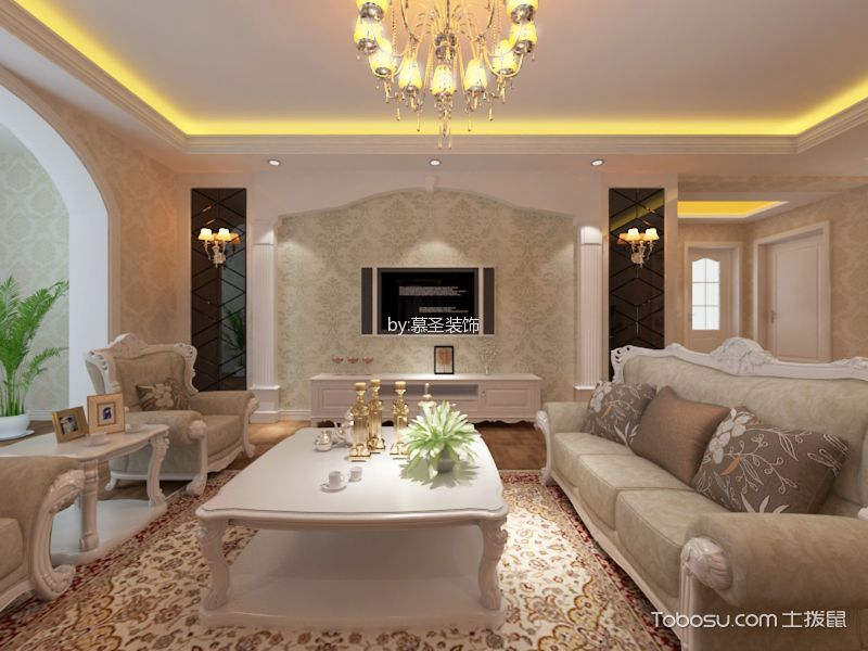 160平米简欧风格三居室装修效果图
