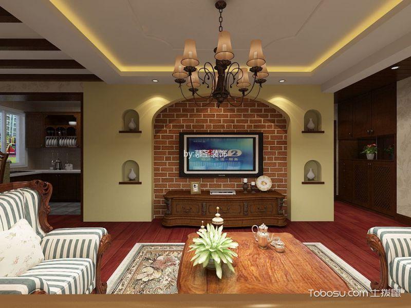 110平美式田园风格三居室装修效果图
