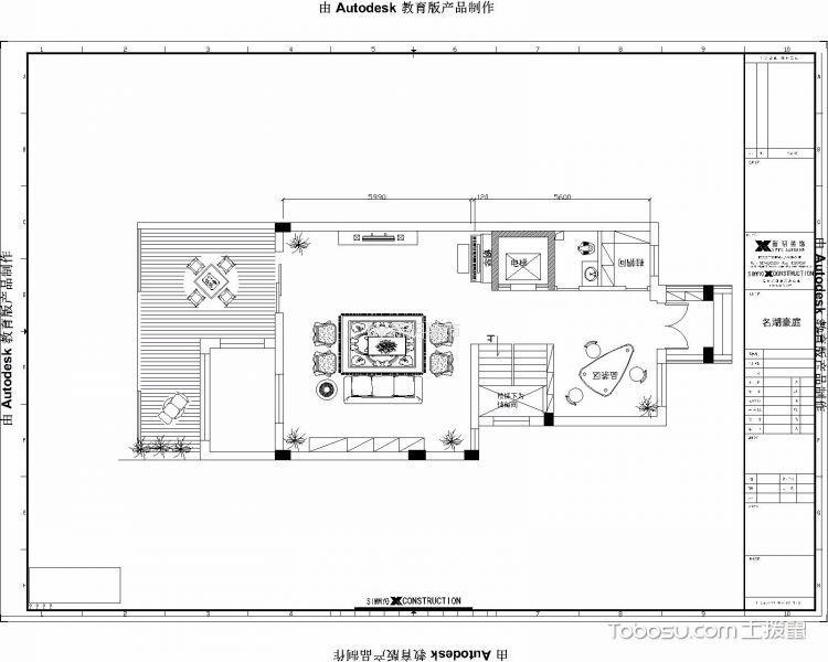 名湖豪庭珑御别墅半包365平美式装修设计图