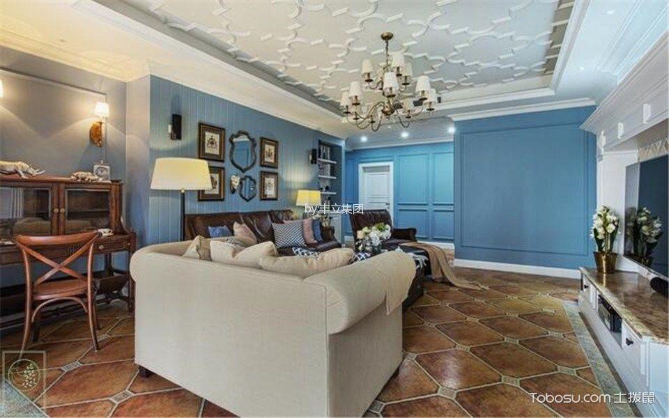 客厅白色灯具美式风格装潢效果图