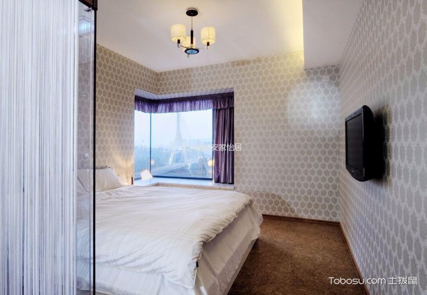 卧室紫色窗帘日式风格装饰图片