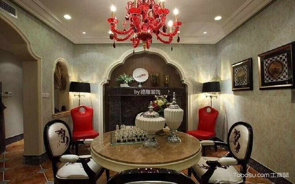 餐厅红色灯具地中海风格装潢效果图