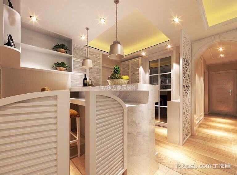 厨房白色隔断简欧风格装潢图片