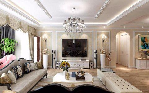 客厅白色背景墙简欧风格装修效果图