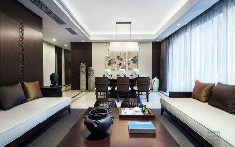 此案例风格以东方元素的设计为风格定位,空间故以线性的方式展开叙述,客餐厅,厨房,卫生间,私人领域,层次分明地构建于空间的主动线上.选择用浅色壁纸来消减其带来的体量感与压抑感,提供生活品质,卧室空间均以简约的线条与立面呈现,在家具软饰中点缀东方元素来迎合室内风格,给人和谐统一的整体感。