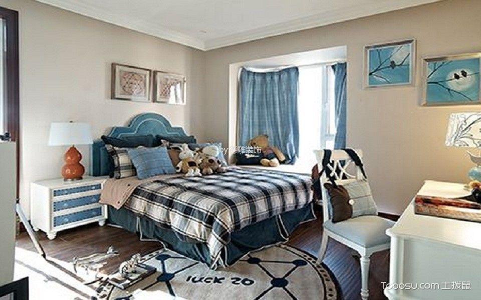 卧室蓝色窗帘现代中式风格装潢设计图片