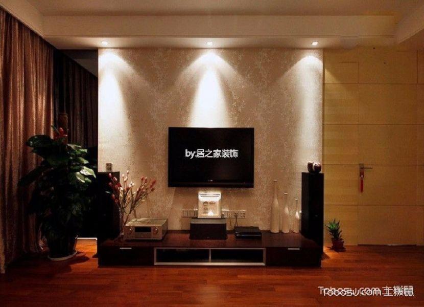 客厅红色电视柜简欧风格装潢效果图