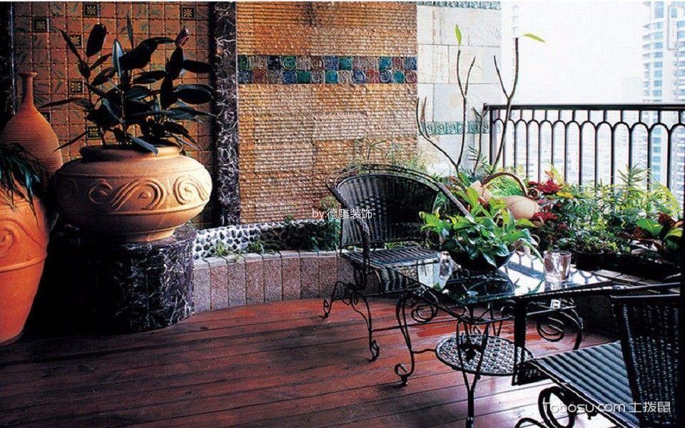 阳台红色地板砖美式风格装饰图片