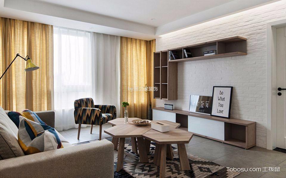 客厅黄色窗帘北欧风格装修效果图