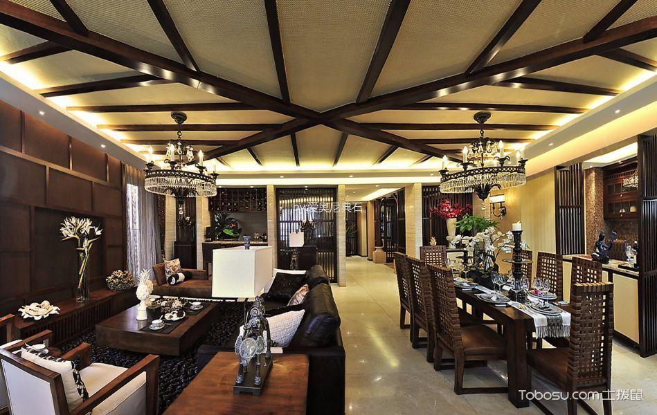 客厅咖啡色电视柜东南亚风格效果图