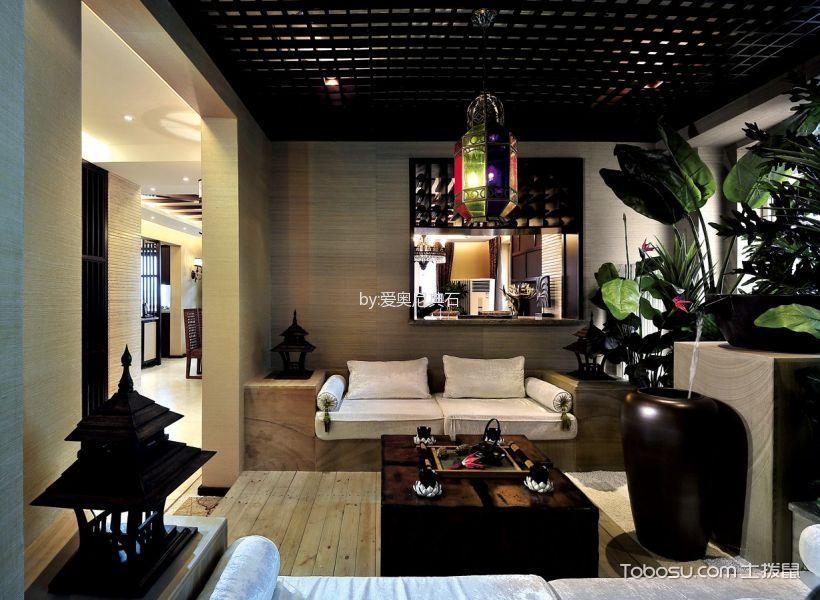 客厅黑色吊顶东南亚风格装潢图片