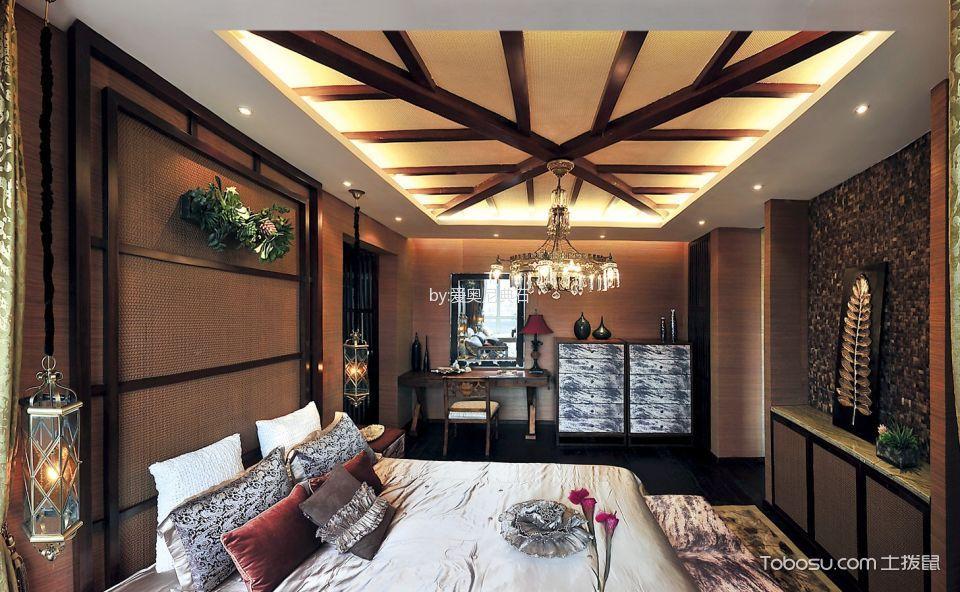 卧室咖啡色床东南亚风格装修设计图片