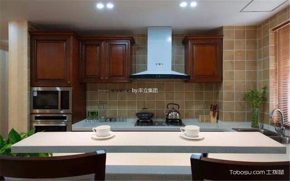 厨房白色吊顶美式风格装修图片