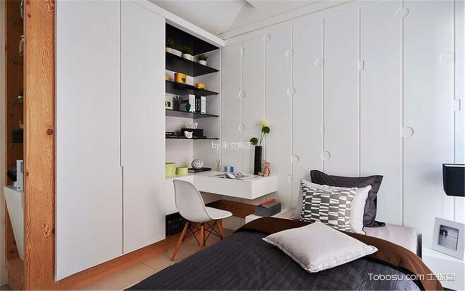 卧室白色书桌中式风格效果图