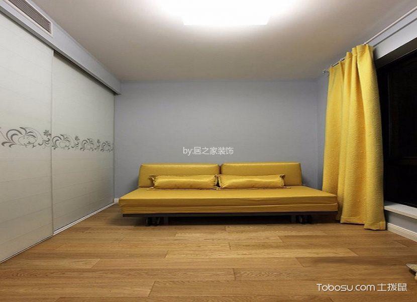 书房黄色窗帘现代简约风格装饰设计图片