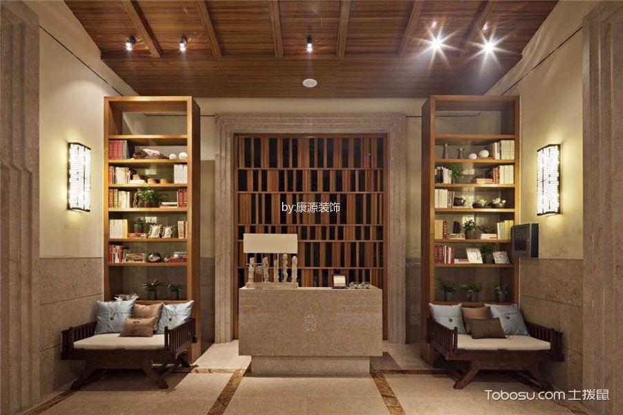 书房咖啡色背景墙东南亚风格装修图片