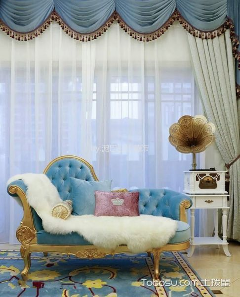 2019洛可可客厅装修设计 2019洛可可窗帘装修图