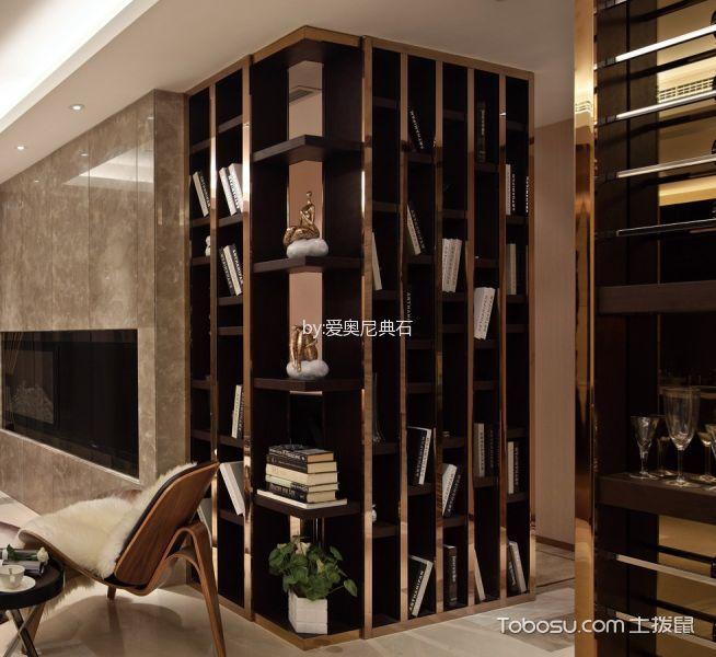 客厅咖啡色书架现代简约风格装饰设计图片