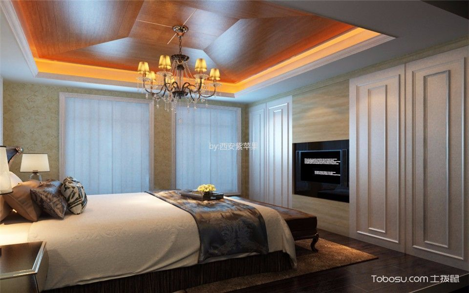卧室咖啡色吊顶混搭风格装潢设计图片