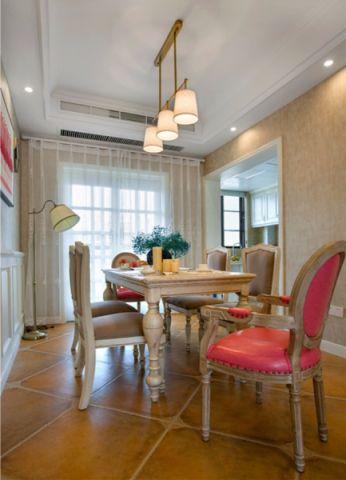 餐厅窗帘美式风格装潢设计图片