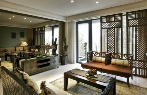 客厅隔断东南亚风格装饰效果图