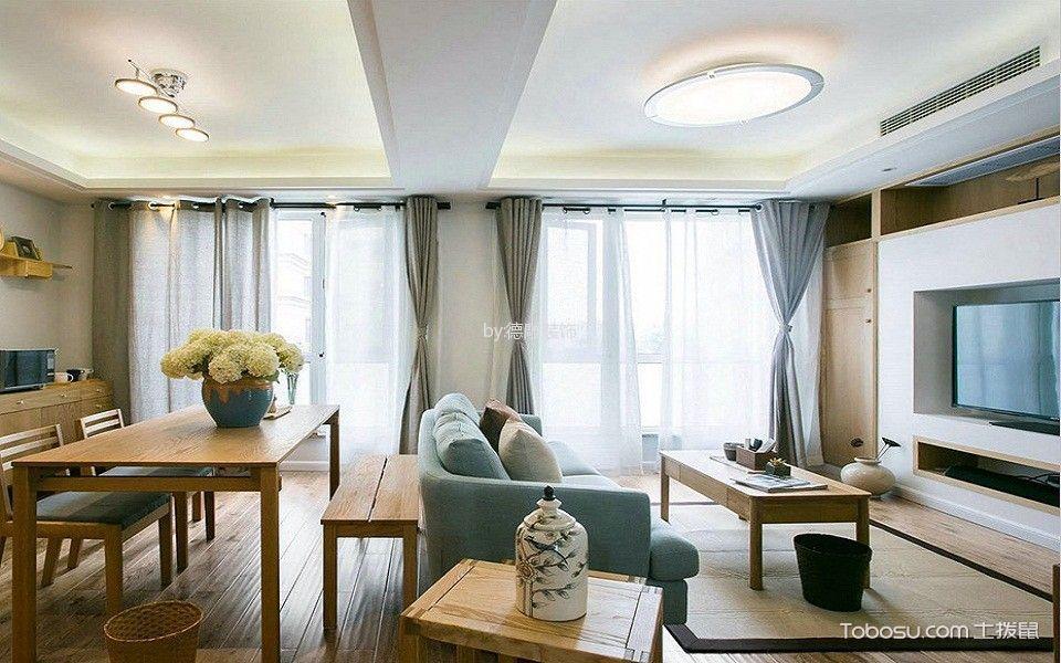 客厅白色吊顶北欧风格装饰设计图片