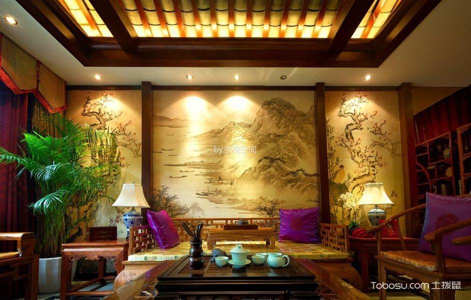 客厅咖啡色榻榻米混搭风格效果图