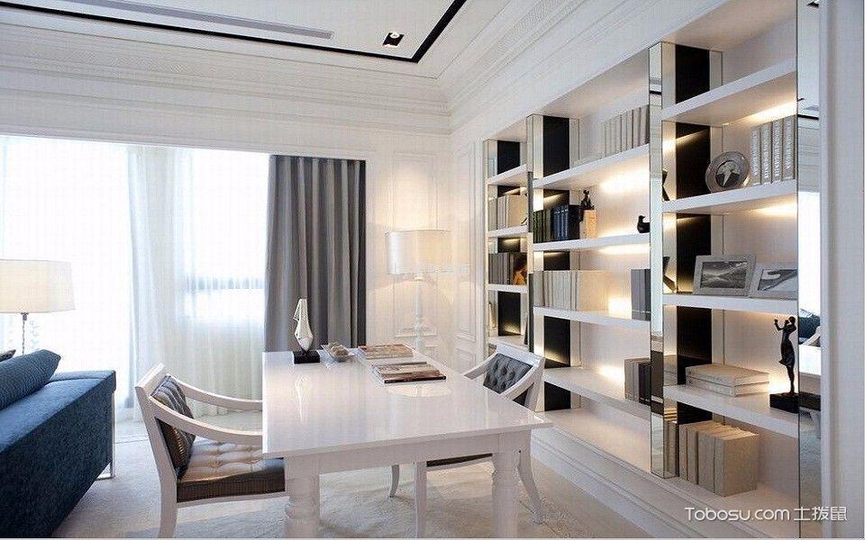 书房白色书桌东南亚风格装潢图片