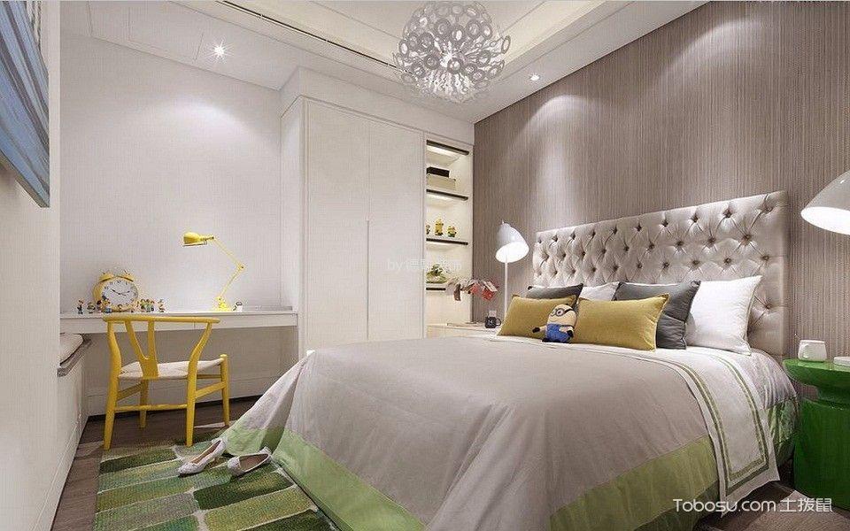 卧室白色书桌北欧风格装潢设计图片