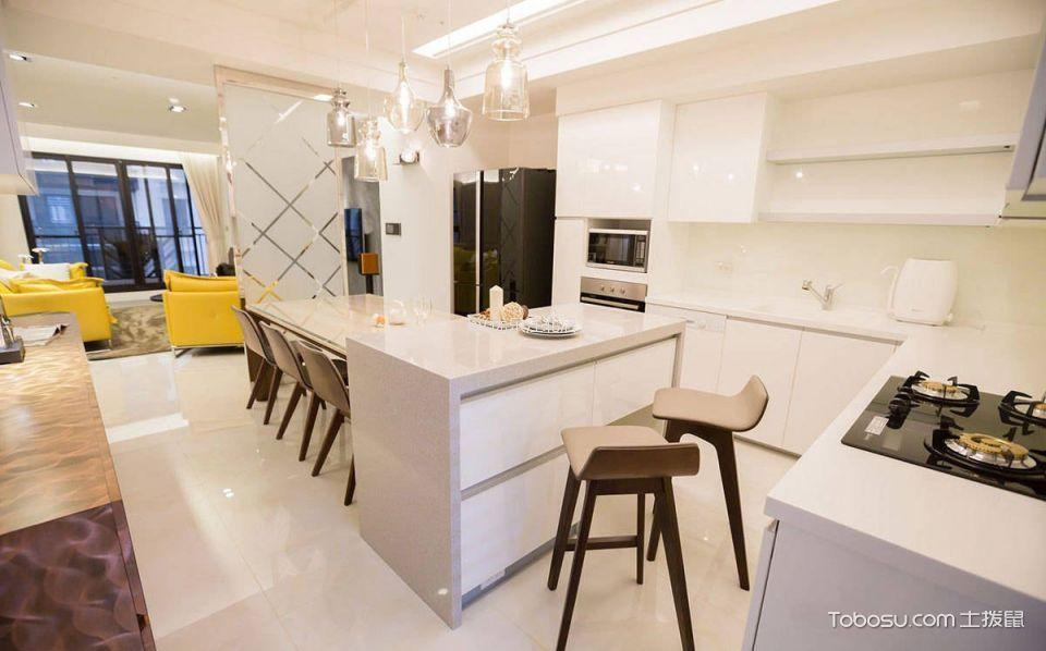 厨房白色吧台简约风格装修设计图片