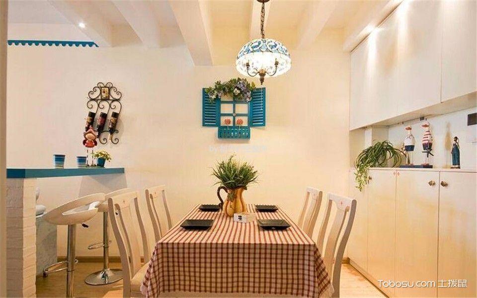 餐厅蓝色灯具地中海风格装饰设计图片